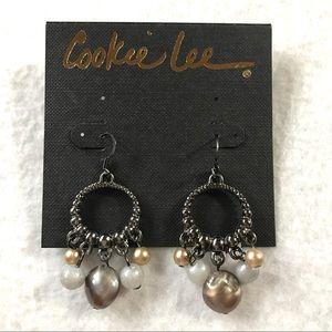 NWT Cookie Lee Beaded Small Chandelier Earrings